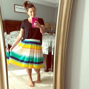 Merona Striped Elastic Waist Midi Skirt